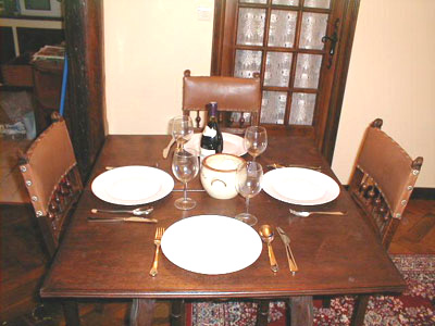 Paris apartment has a full dining room table for great Paris meals