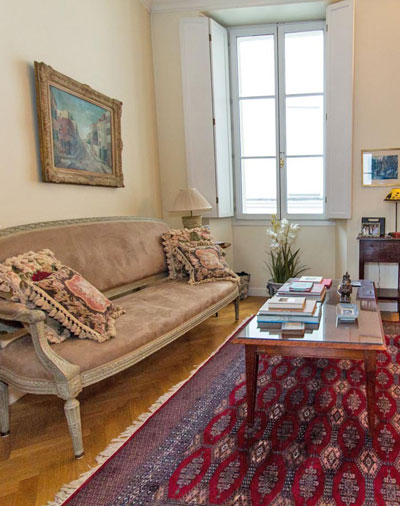Paris apartment has a beautifully decorated living room